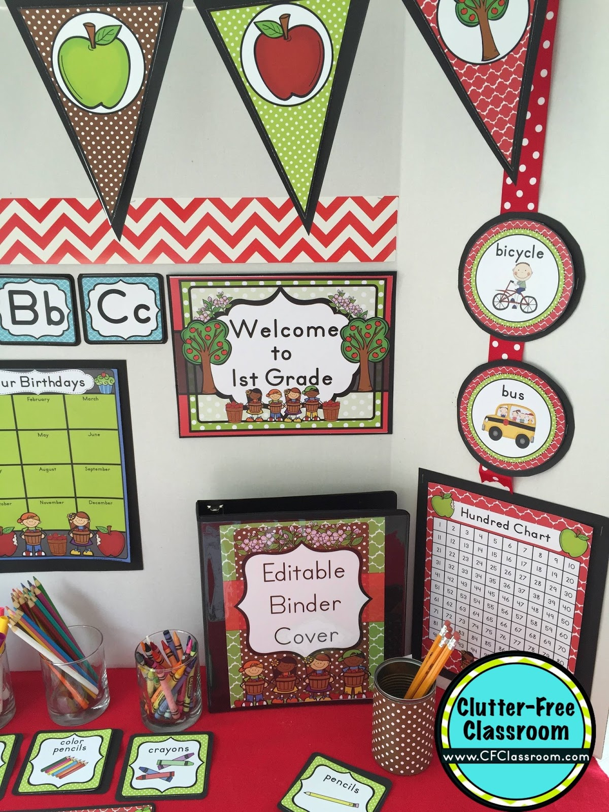 Classroom Ideas Printables ~ Apple themed classroom ideas printable