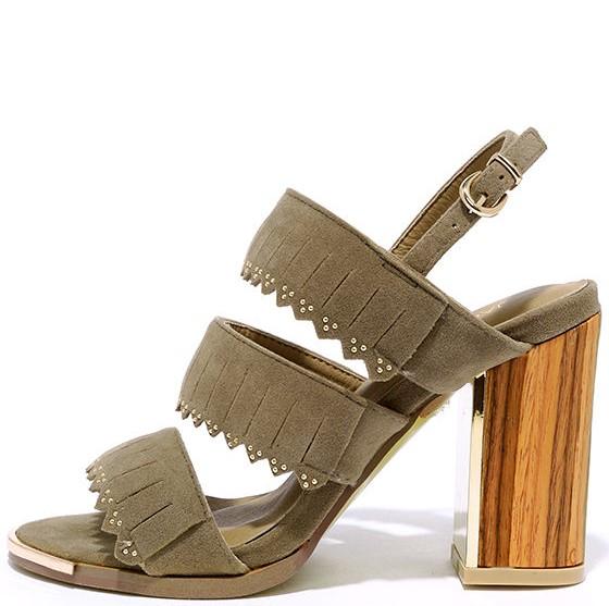 Lulus Fringe Studded Block Heel Sandal