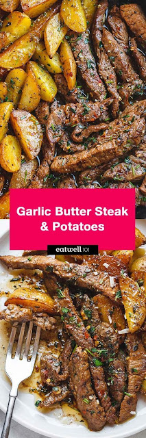 Garlíc Butter Steak and Potatoes Skíllet
