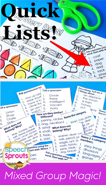Targeting multiple goals in speech therapy mixed groups is easy with these handy Quick Lists www.speechsproutstherapy.com
