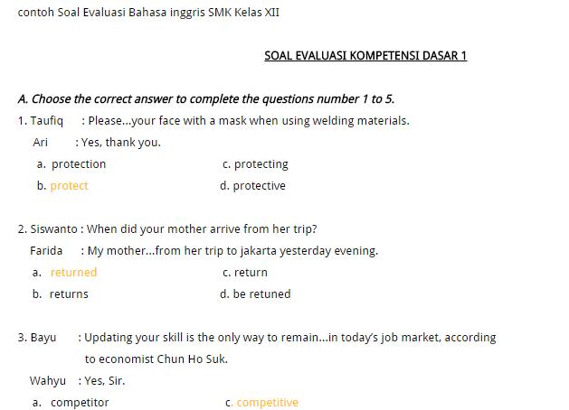 Contoh Soal Evaluasi Bahasa Inggris Smk Kelas Xii Soal Try Out Tkj