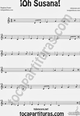 ¡Oh Susana! Partitura de Flauta Sheet Music for Flute and Recorder