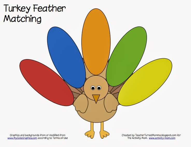 The Activity Mom - Turkey Feather Matching (printable) - The