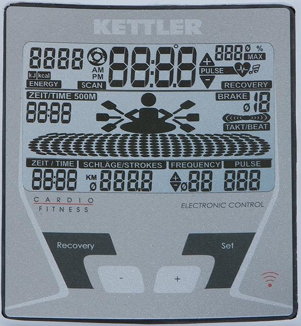 écran LCD du rameur kettler coach M