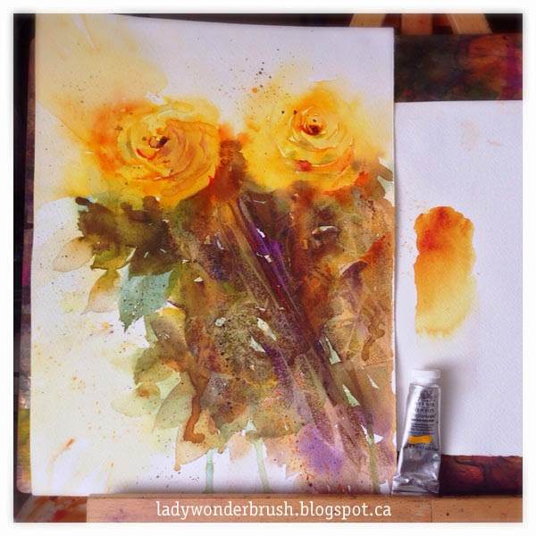 My watercolor friend Quinacridone Gold by Winsor&Newton and its influence on roses foliage.  Original golden roses watercolor by Olga Peregood.