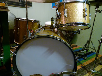 1965 Vintage Ludwig Club Date Gold Sparkle Drum Set For