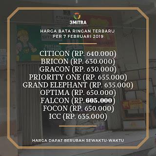 harga bata ringan Citicon, Grand Elephant, Bricon, Gracon dan Falcon di bulan Pebruari 2019 di Surabaya, Sidoarjo dan Gresik