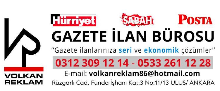 Gazete Ilan Burosu Volkan Reklam 0312 309 12 14