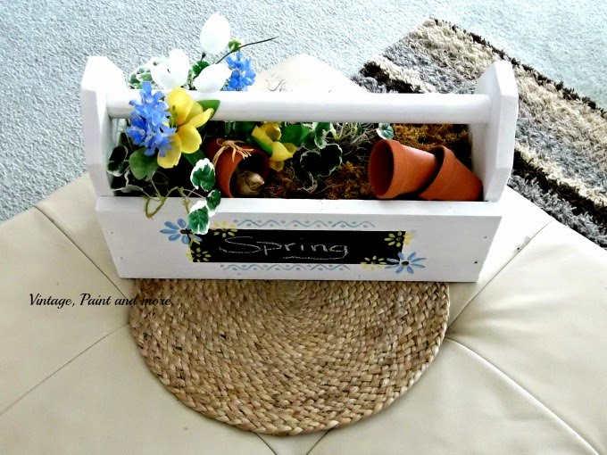 Toolbox to Spring Centerpiece - stenciled toolbox and spring flowers