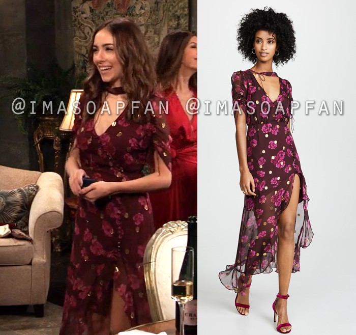 Molly Davis Lansing, Haley Pullos, Purple Pink and Gold Floral Maxi Dress, General Hospital, GH