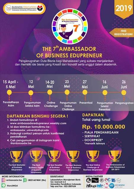 Lomba Ide Bisnis Kreatif Nasional Business Edupreneur 2019 Mahasiswa Gratis