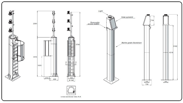 Spesifikasi tiang menara suar model 1