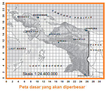 Memperbesar peta menggunakan grid