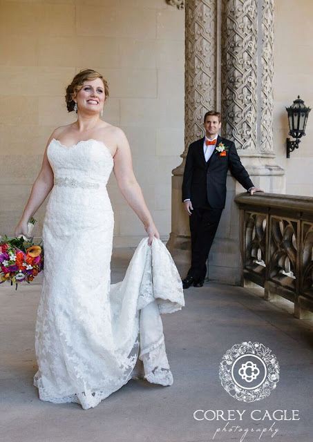 smiling bride and groom at Biltmore House | Corey Cagle Photography