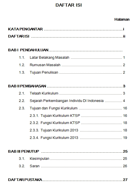 Untuk Mahasiswa Saya Contoh Daftar Isi Makalah Individu Telaah