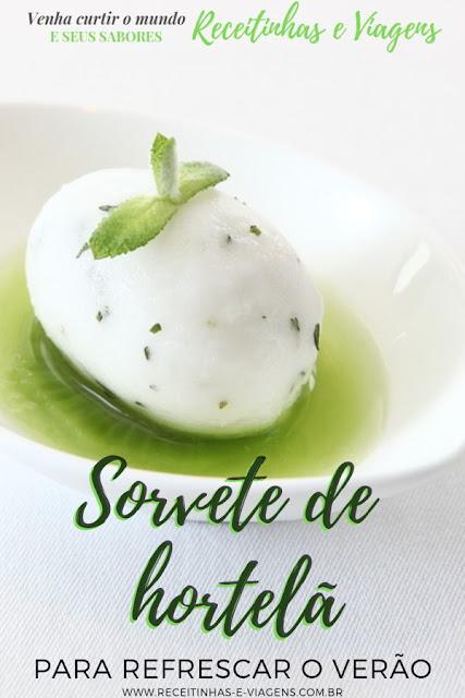 sorvete de hortela feito com folhas de hortela