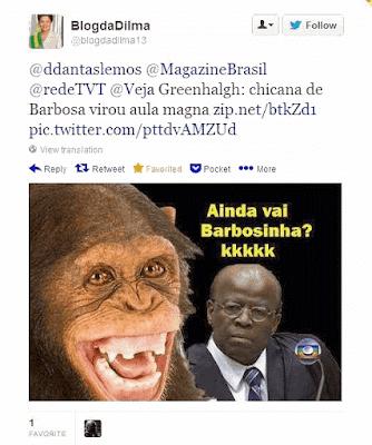 Blog da Dilma comparando com macaco o ministro do STF Joaquim Barbosa
