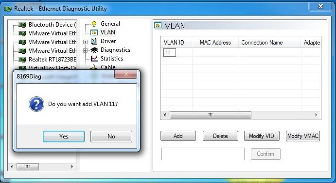 TAG VLAN Ethernet Realtek PCI-GBE dengan Diagnostic Utility , Laptop