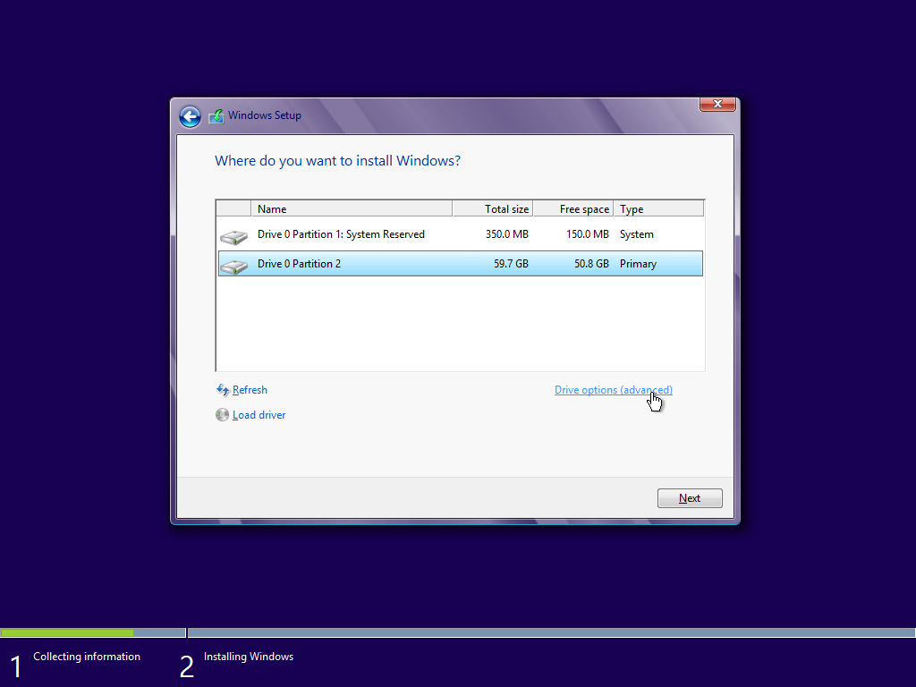 pilih partisi harddisk windows 10