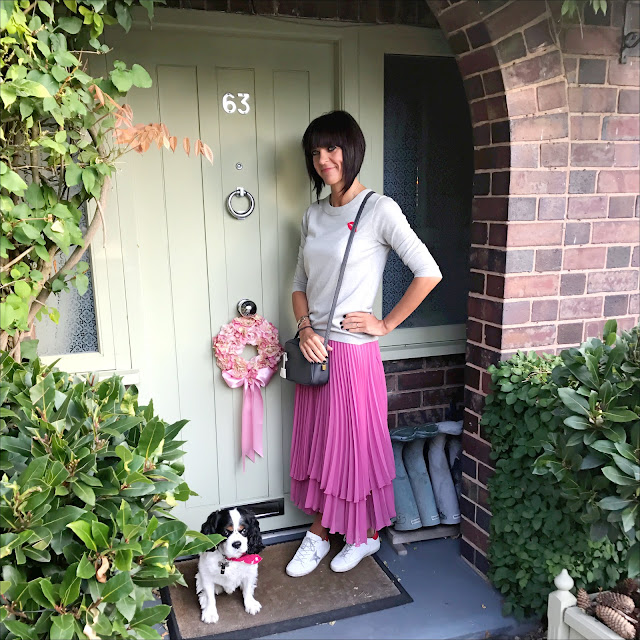 my midlife fashion, j crew tippi sweater, j crew leather cross body grey bag, finery london baltic double layered pleated skirt, golden goose superstar low top leather trainers