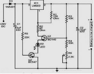 12 Volt Charger Circuit with LM350 - Electronic Circuit Accu Charger Schematic on