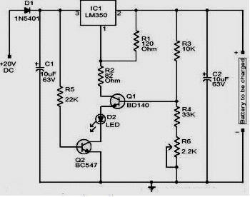 12 Volt Charger Circuit with LM350 schematic