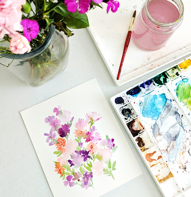 watercolor purple floral painting by Elise Engh