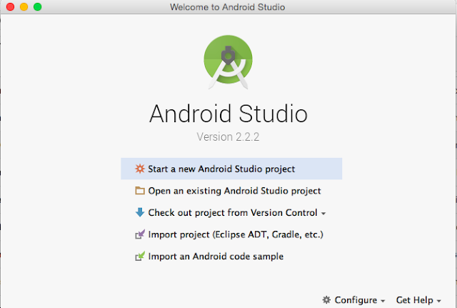 Start Android Studio Screen