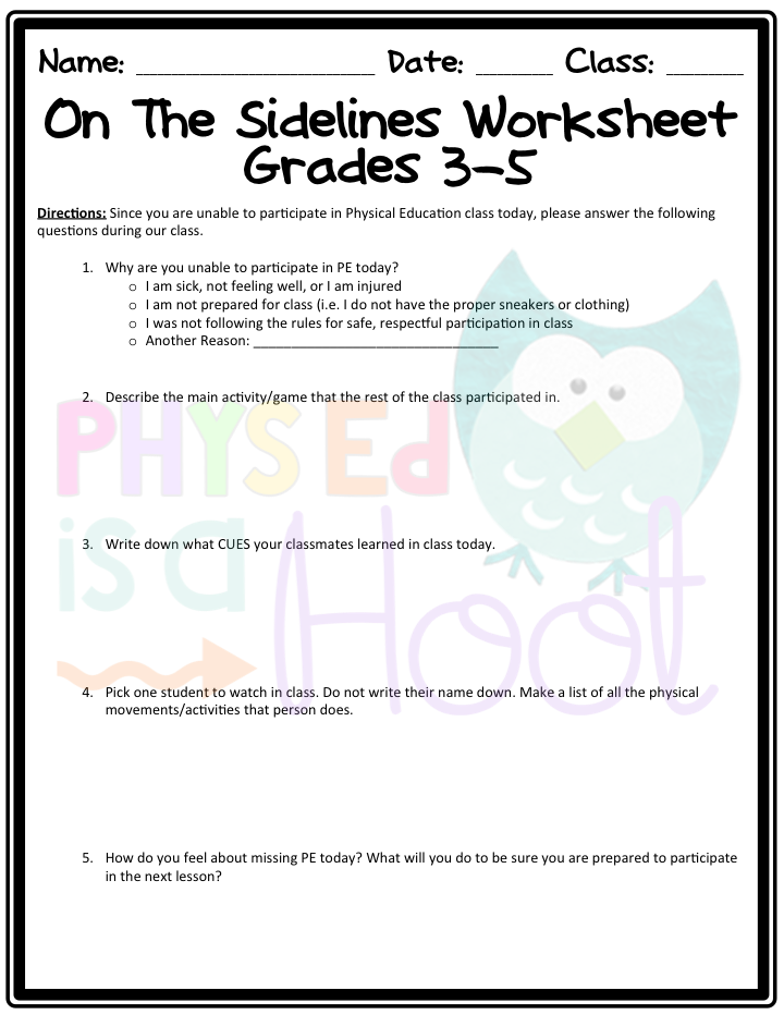 Phys Ed is a Hoot: ON THE SIDELINES WORKSHEET
