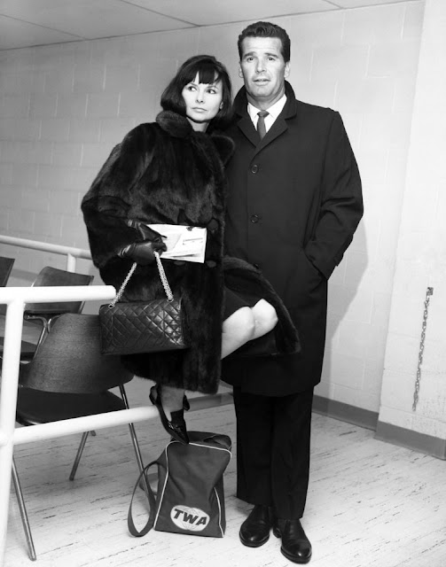 James Garner and his wife Lois flying TWA