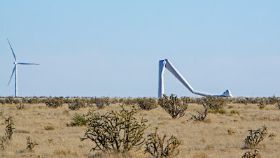 A wind turbine destroyed by wind in Eastern New Mexico