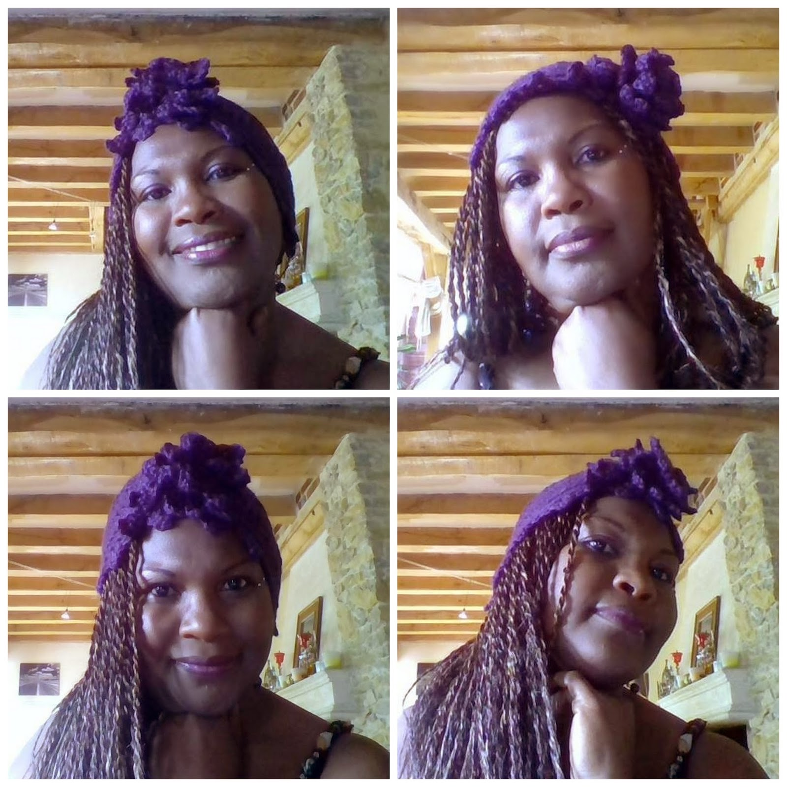 Etsy Customer Appreciation Photo: Jocelyn models the ALEJANDRA Flower Turban Hat in Iris Purple
