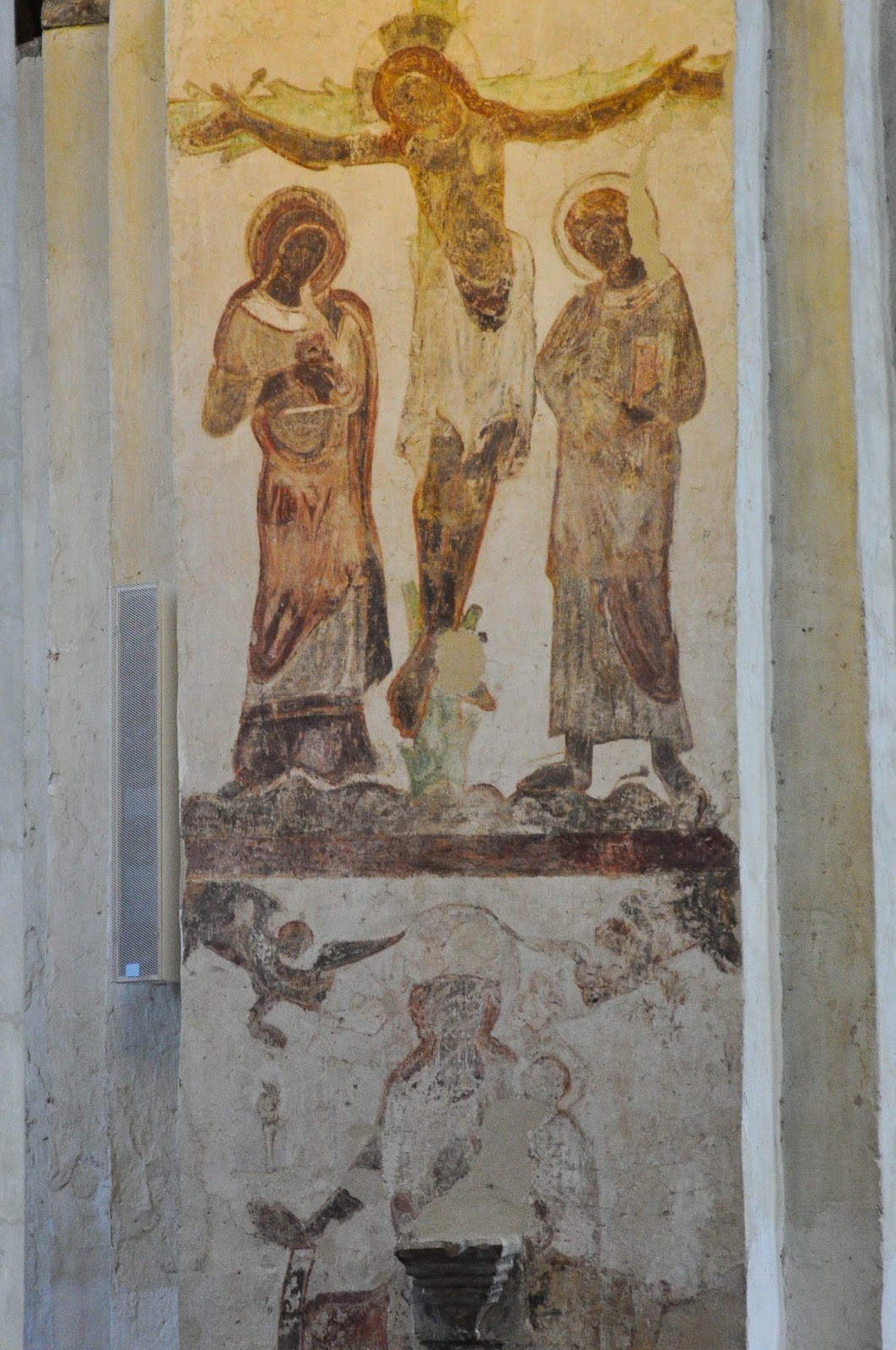 Vestiges of old frescoes, St. Albans Cathedral, St. Albans, Herts, England