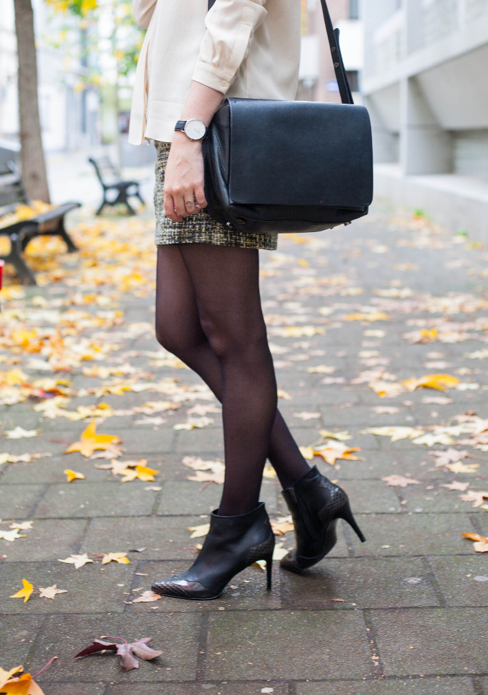 Outfit: silk blouse, tweed skirt, stiletto boots