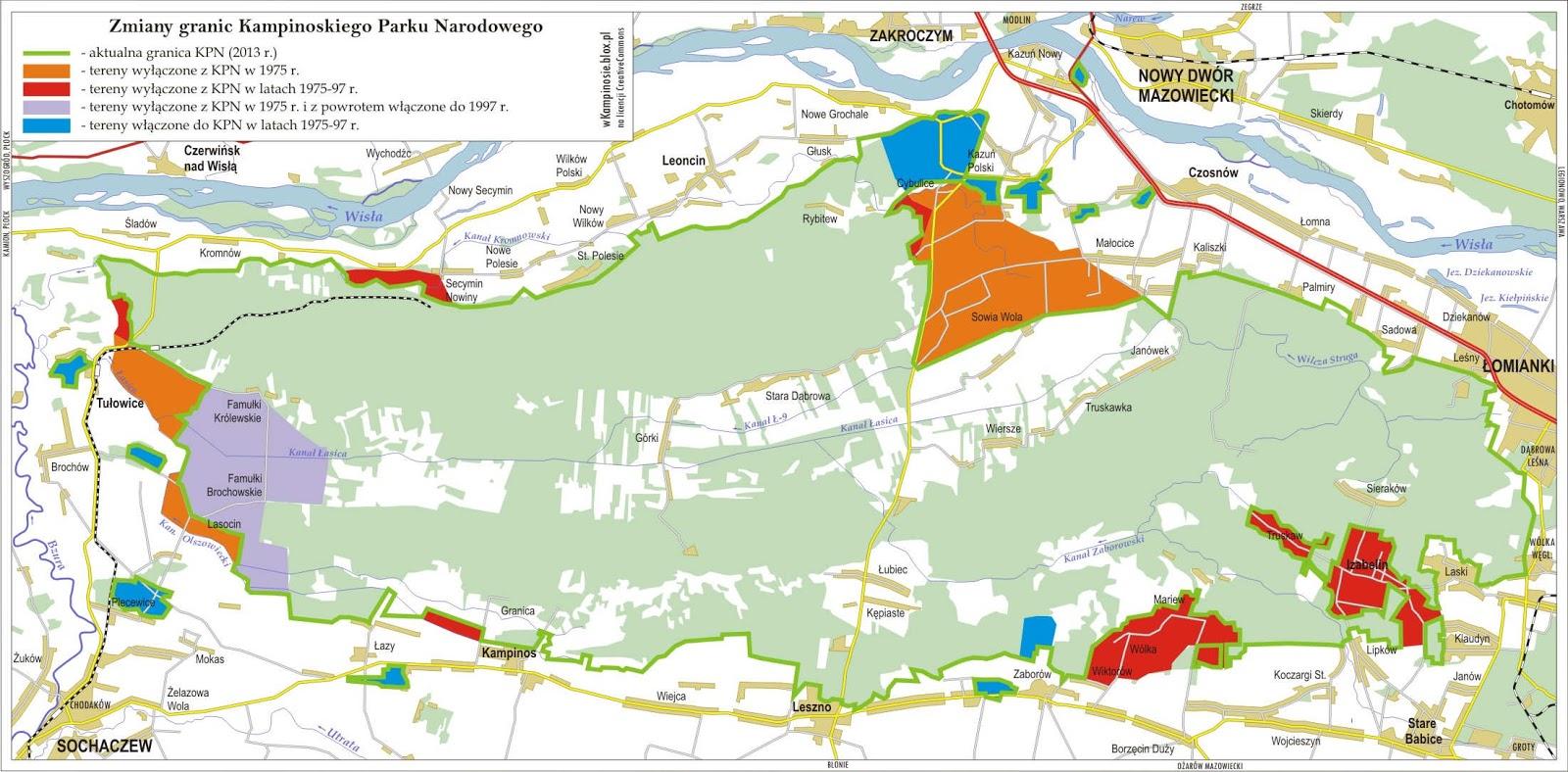 Zmiany granic Kampinoskiego Parku Narodowego