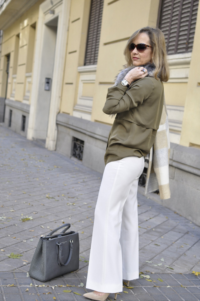 white flare pants Daniel Wellington