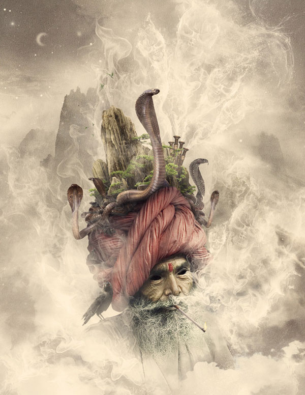 Surreal artworks by Romel Belga The God of Smoke