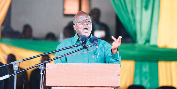 John Magufuli addresses a public rally at Jamhuri Stadium in Dodoma