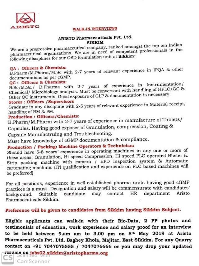 Aristo Pharma   Walk-in interview for Production/QC/QA/Stores   5th May 2019   Sikkim