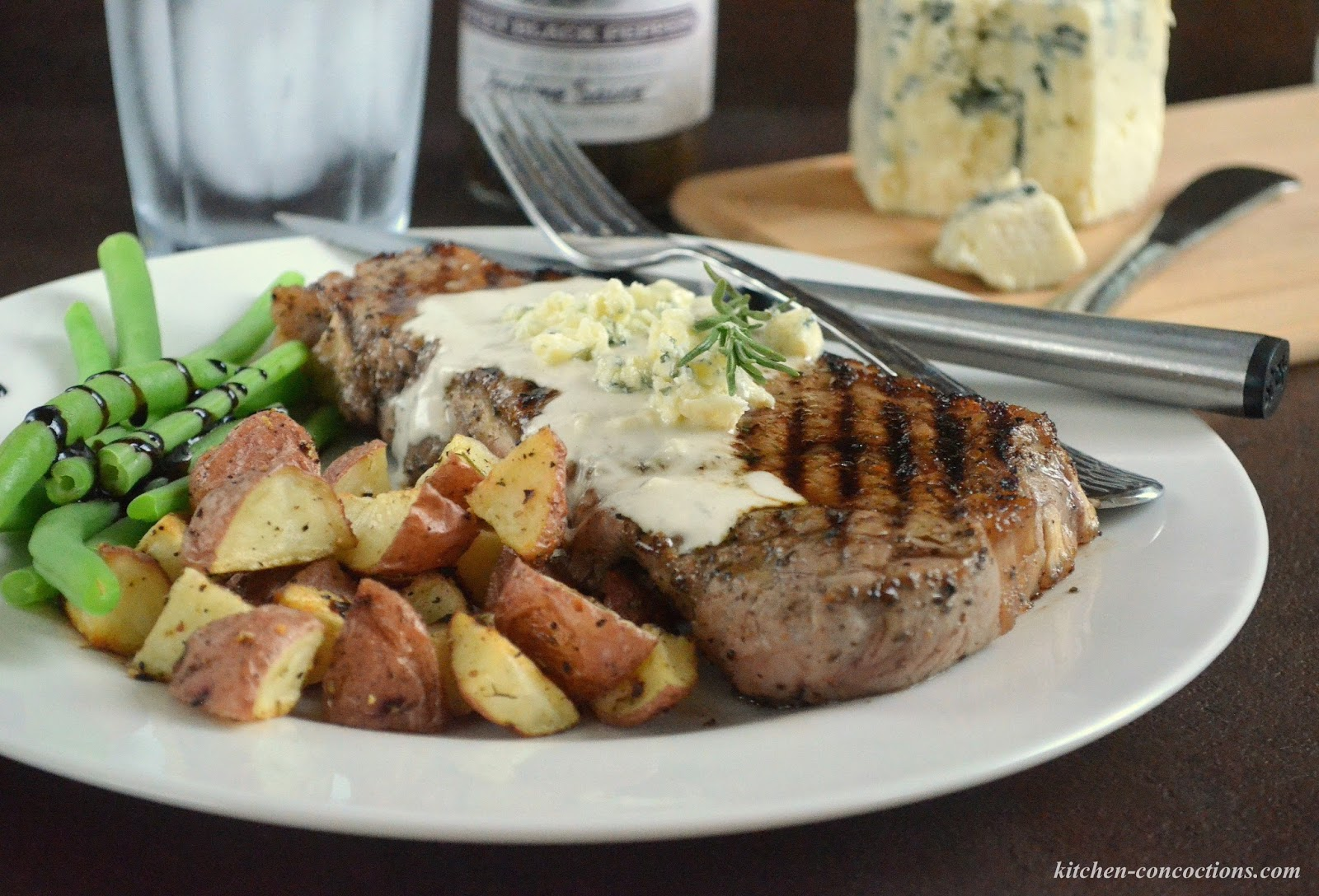Grilled Black Pepper New York Strip with Blue Cheese Sauce ...
