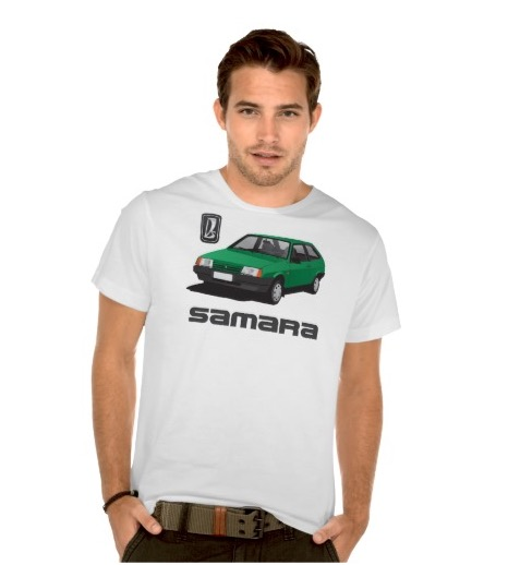 green VAZ-2109 Lada Samara automobile t-shirts