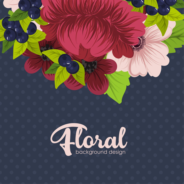 Beautiful floral design Free Vector