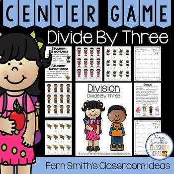 3rd Grade Go Math 7.4 Divide By Three Center Games and Printables