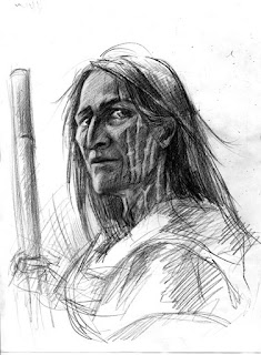 Dibujo de una persona mayor con pelo largo, cicatrices en la cara y bastón.
