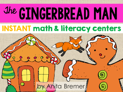 Gingerbread Man literacy center activities for Kindergarten. Includes practice with letter sounds, letter recognition, syllables, rhyming, and more!