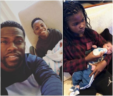 I cried before taking this picture – Kevin Hart shares photo of his older kids cradling his new born