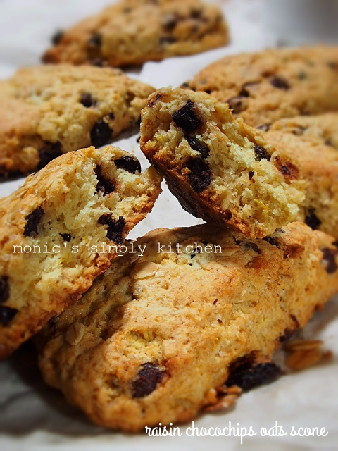 resep raisin chocochips oat scones