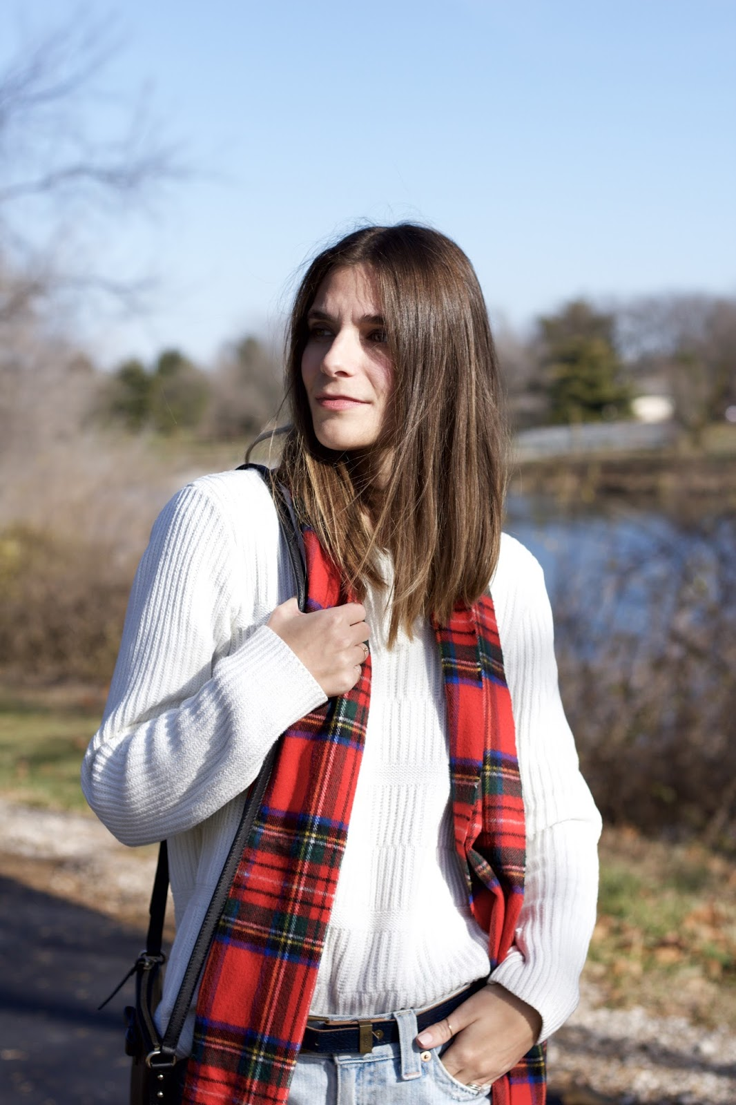 red plaid women's scarf