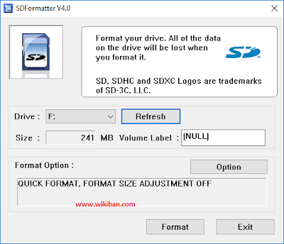 how to format memory card using sd formatter