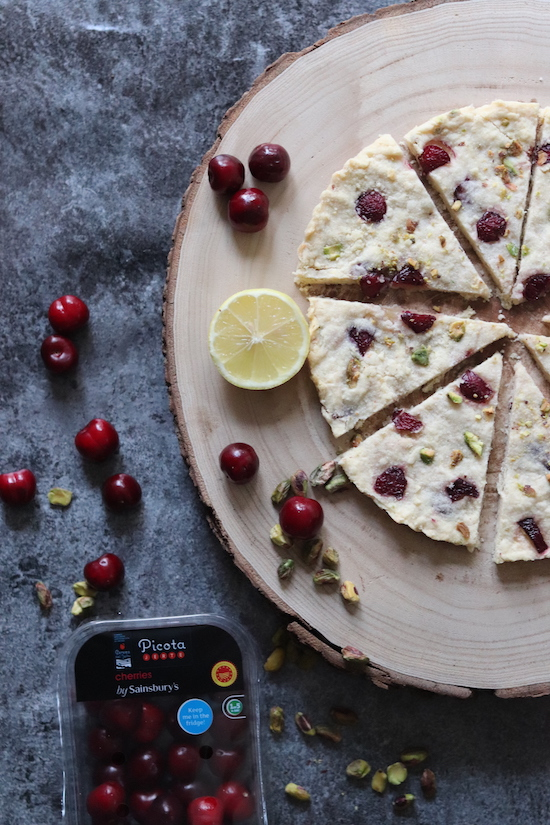 Cherry pistachio lemon shortbread recipe